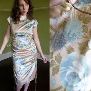 Karen Millen Silk Cheongsam Dress Corset Sides Asian Print