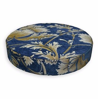we57r Gold Brown Damask Flower Chenille Round Box Shape Sofa Seat Cushion Cover