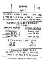1971 Gto Tire Pressure Decal