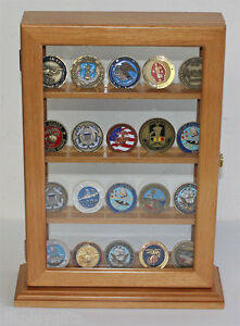 4 étagères militaire Geocoin Stand comptoir Display Case-Coin 12-OAK-afficher le titre d`origine MmXu8he7-07134005-716222619