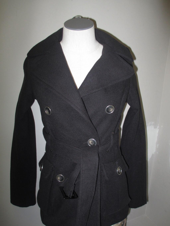Hydraulique Juniors double breasted Belted Coat XS noir 100% Authentique Neuf avec étiquettes