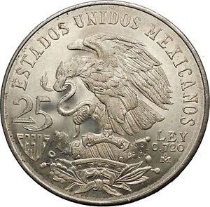 1968-Mexico-XIX-Olympic-Games-Aztec-Ball-Player-BIG-25-Pesos-Silver-Coin-i53630