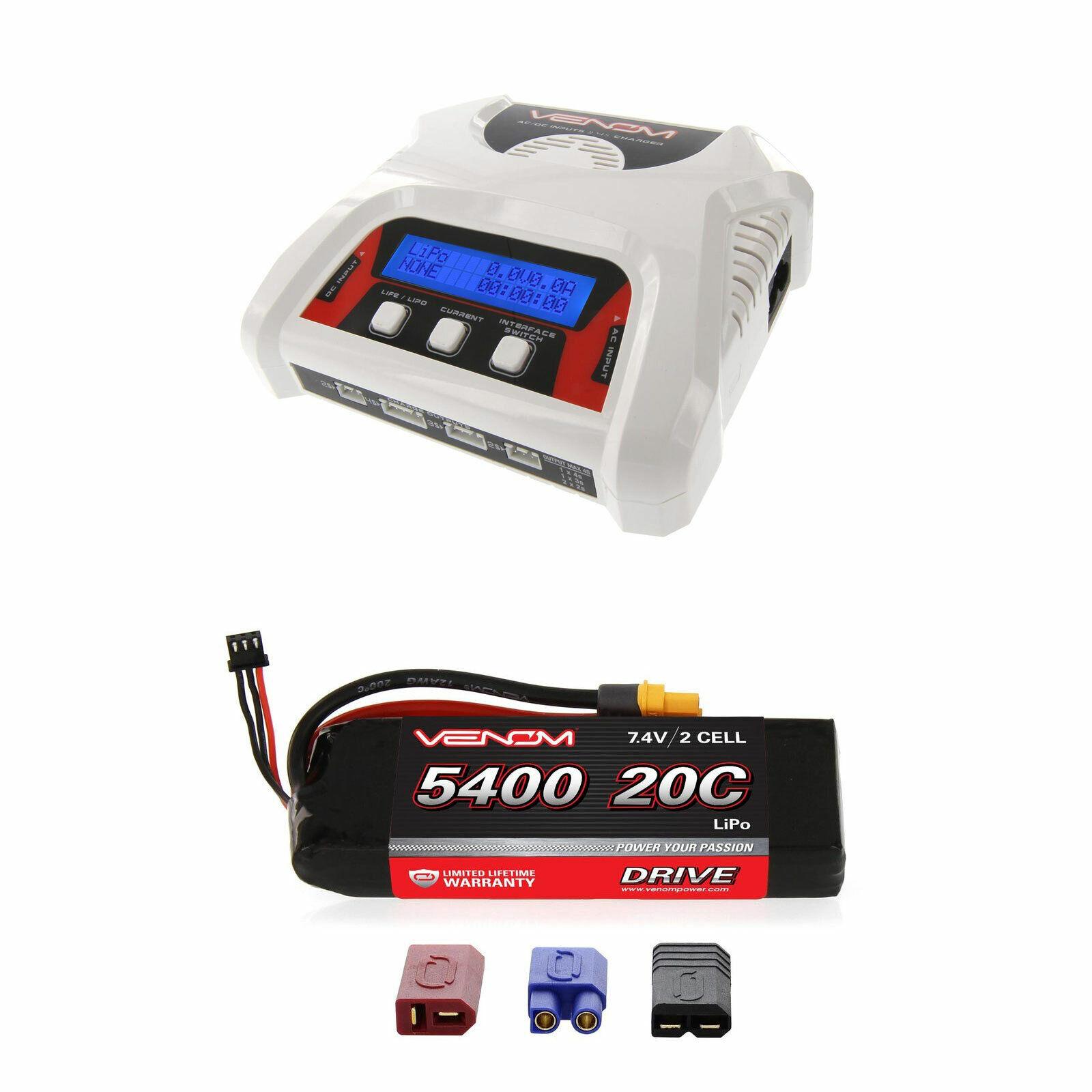Venom 20C 2S 5400mAh 7.4V Batería LiPo y 2-4 Celular Equilibrio Cargador Combo