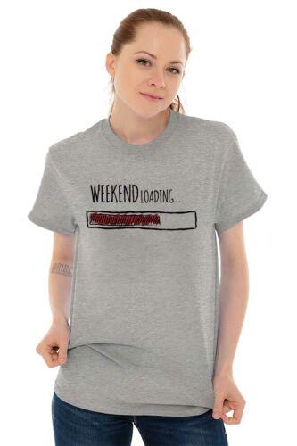Weekend Loading Funny Nerdy Geeky Please Wait Short Sleeve T-Shirt Tees Tshirts
