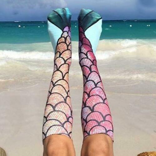 Shining Fish Scale Warm Socks Women Breathable Calf Length Socks One Size