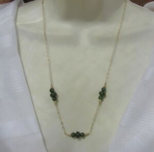 echt-Nephrit-Jade-Kette-Kanada-British-Columbia-585-14K-Gold-GF-ygf-Collier-58cm