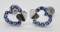 JM09 14K Solid White Gold 7mm Heart Blue Cubic Zirconia(CZ) Stud Earrings