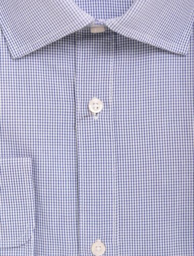 Mens 15.5 34//35 Alfa Perry Extra-Slim Fit Blue Spread Collar Cotton Dress Shirt