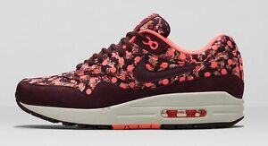 Nike Women Air Max 1 LIB QS 540855 600 SIZE 6 Liberty Burgundy Bright Mango