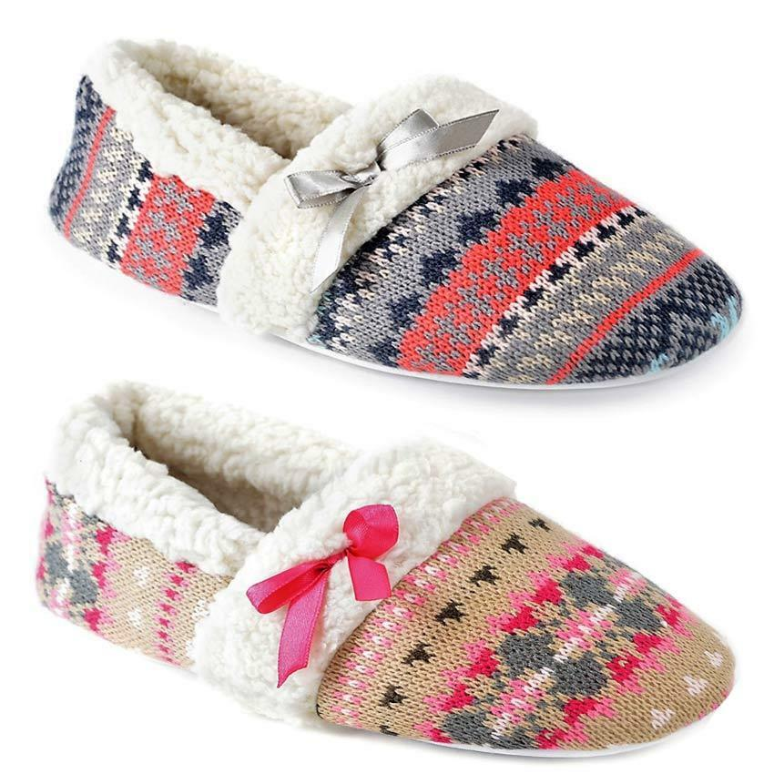 LADIES SLIPPERS KNITTED NORDIC WARM COSY FAUX SHEEPSKIN FUR LINED WINTER SHOES