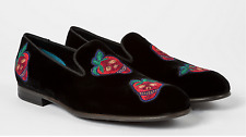 Paul Smith Black Velvet 'Rudyard' Loafers Embroidered Strawberry  Sz 8 UK NEW