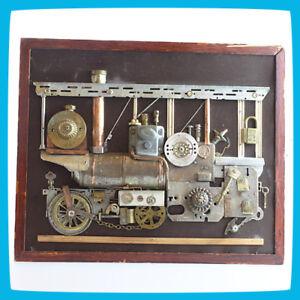 Metal Brass Composition Design 3d Bas-relief Train Locomotive Loco Railway Art