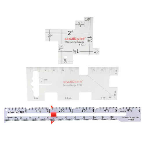 3pcs//Set Sewing Gauge Knitting Gauge Measuring Ruler  Metric Ruler