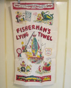 FUN-Estate-vtg-50s-FISHERMAN-039-S-LYING-TOWEL-TEA-TOWEL-retro-mid-Century