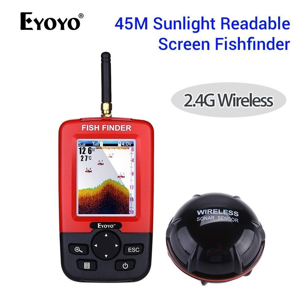Sonar Inalámbrico Buscador de pesca con la luz del sol pantalla legible profundidad 45M 2.8  LCD