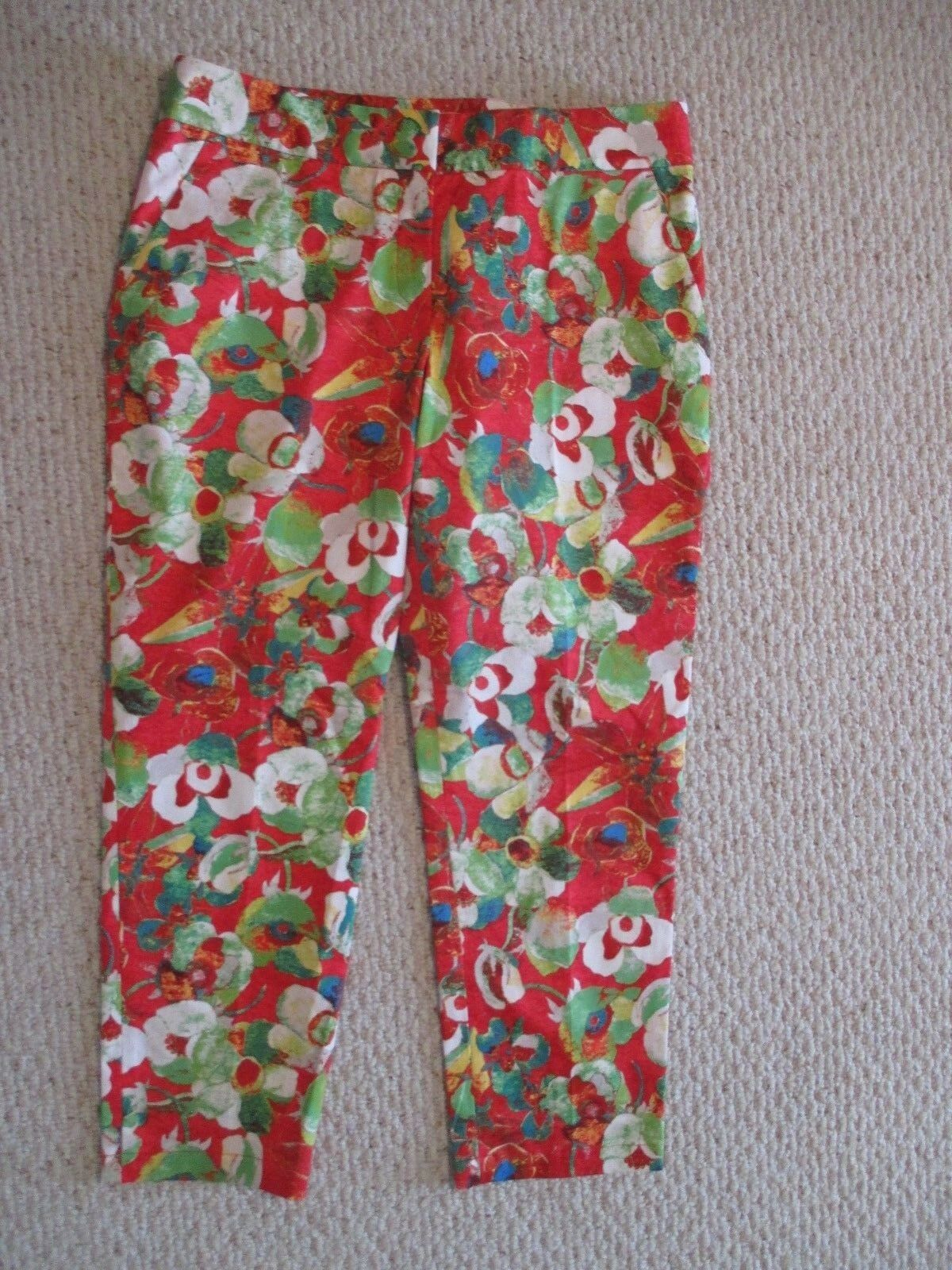 Peter Som Kelly Poppy Red Floral cropped pants Size 12 Anthropologie NEW