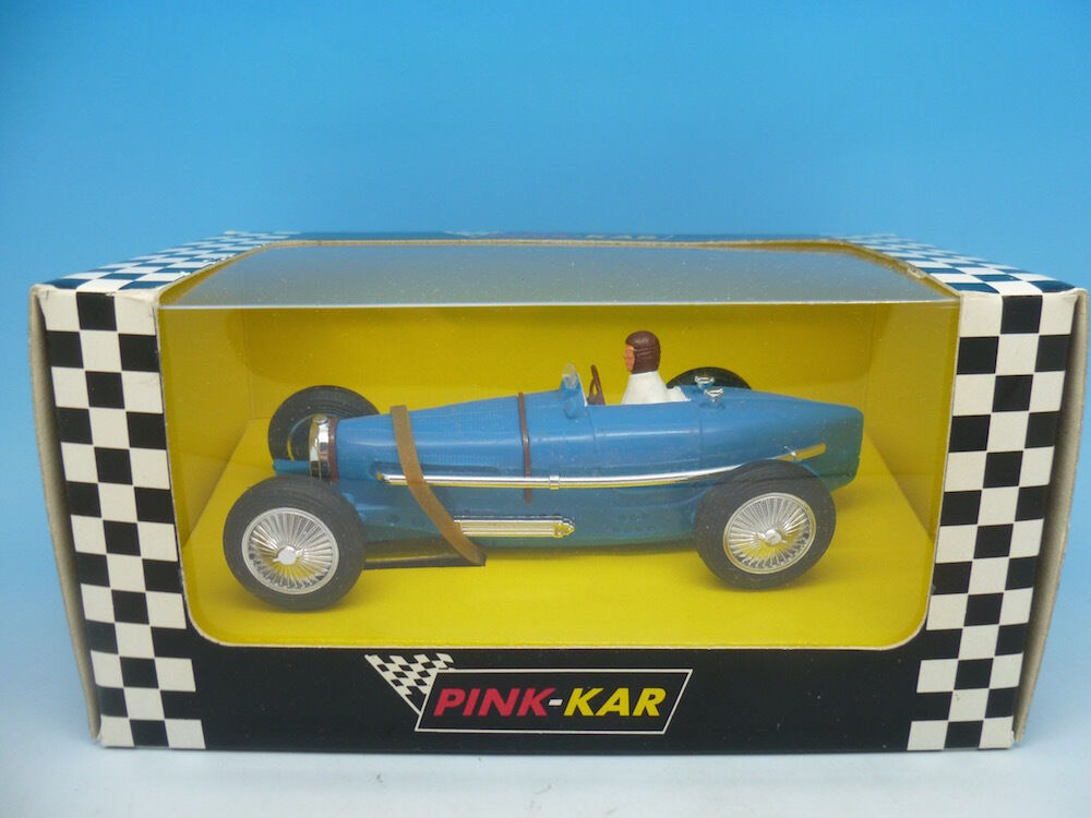 Pink Kar Bugatti Type 59 in bluee, Rare Blank Base, mint unused boxed