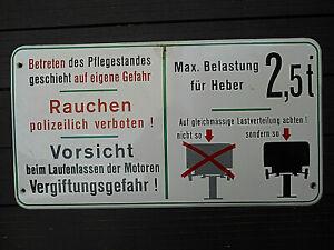 Hebebuehnenschild-Emailschild-Werkstatt-Schrauber-Garagen-Schild-Automobilia-1960