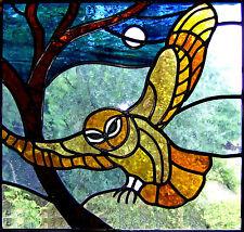 Stampa incorniciata-Vetrata di un gufo (PICTURE POSTER Animale Bird ART)