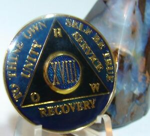 18 Year Alcoholics Anonymous AA Blue Medallion Coin Chip Token Sobriety Sober