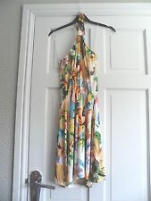 "ASOS - Lovely Ivory Multi Colour Halterneck ""Bead"" Dress Size 14 bnwts"