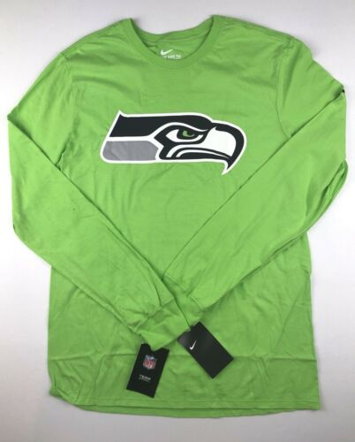 Nike Seattle Seahawks Mens XL Action Green Long Sleeve Logo T Shirt Top NWT