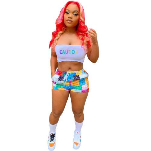 HOT SALE Fashion Women/'s Letter Print Chest Wrap+Multicolor Print Pants Set2pcs