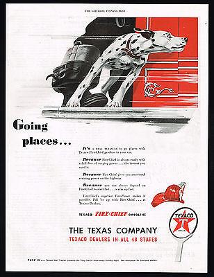 1947 Dalmatian Dog Fire Engine Truck Texaco Fire Chief Gas Print Ad