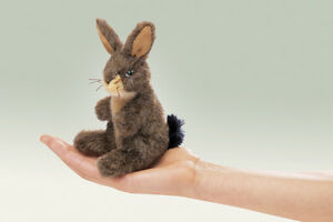 NEW-PLUSH-SOFT-TOY-Folkmanis-2675-Mini-Jack-Bunny-Rabbit-Finger-Puppet-15cm