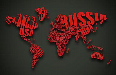 Photo Poster art Encadrée Imprimer-carte du monde avec des mots que les pays