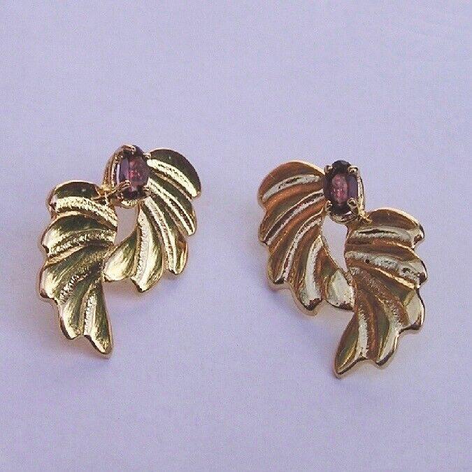Sterling Vermeil Garnet Butterfly Wing Earrings