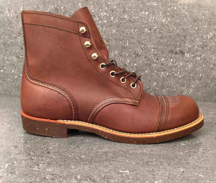Zapatos de cuero Red Wing Botas IRON RANGER 8111 Premium Arnés marrón color ámbar