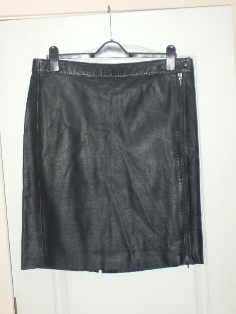 M&S Sexy Leather Front Zipper Skirt 16
