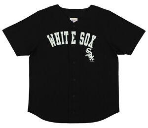 MLB Baseball Boys Youth Chicago White Sox Button Down Jersey Shirt, Black