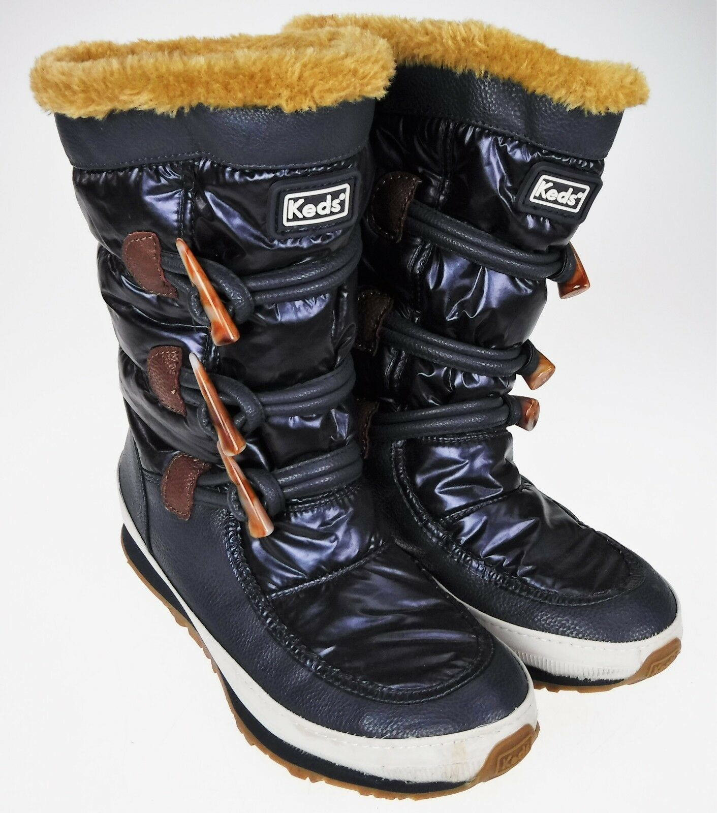 Womens 8 Keds Powder Puff Navy bluee Winter Warm Waterproof Boots Faux Fur 52044