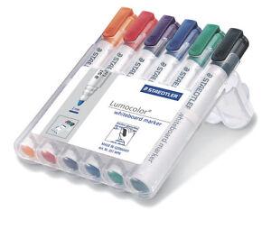 STAEDTLER-351-WP6-Lumocolor-Whiteboard-Markers-Pens-6pk-8pk-BULLET-or-CHISEL
