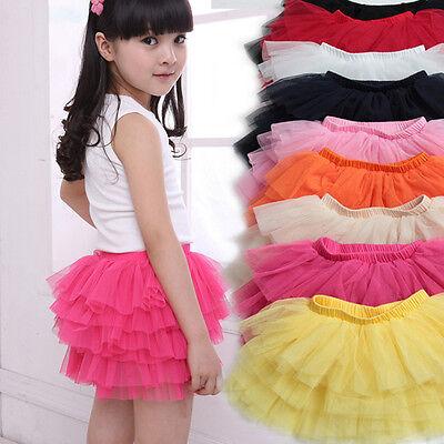 Gift Tutu Dress Wedding Party Dance Baby Kid Girl Layered Chiffon Princess Skirt