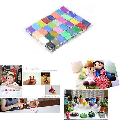 Colorful Fimo Polymer Modelling Soft Clay Blocks Plasticine Craft DIY Toy 32pcs