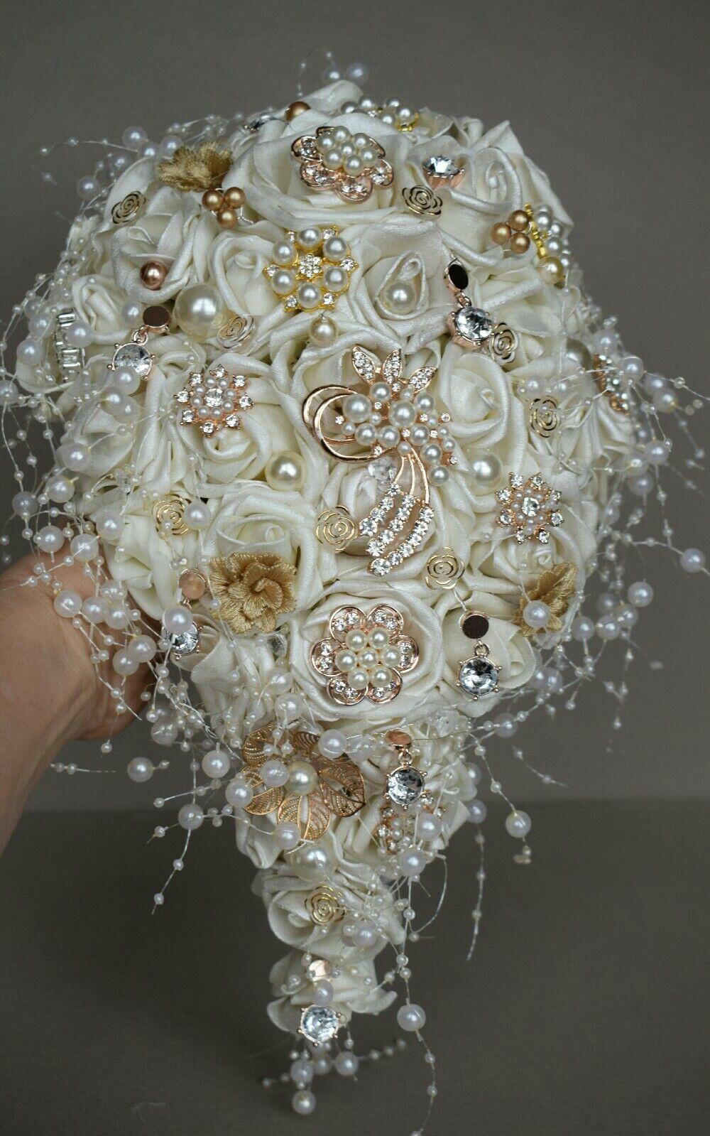 Alternative Mariées Mariage Bouquet, Antique or Rose Broche Bouquet, perles