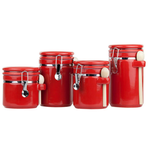 Ceramic Canisters with Air-Tight Clamp-Top Lids and Wooden Spoons 4-Piece Set