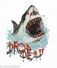 "WS ""Drop dead"" Shark print  white or black cotton beach t shirt  sizes s-3xl"