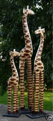 NEU 3 Giraffen Statue Tier Holz Deko Giraffe Afrika 2