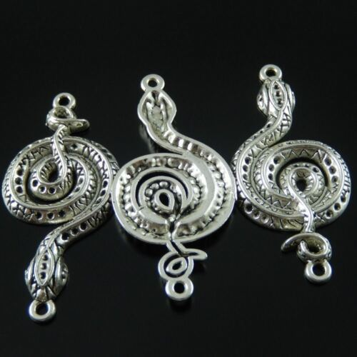 15pcs 43*24*3mm Vintage Silver Snake Look Alloy Charms Pendants Jewelry Findings
