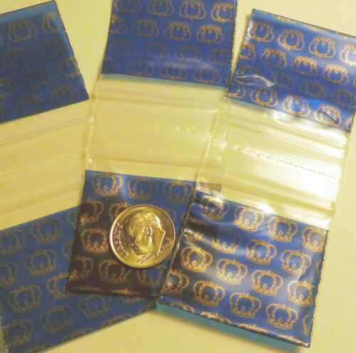 "100 Royal Crowns Apple Baggies  1.5 x 1.5/"" mini ziplock bags 1515"