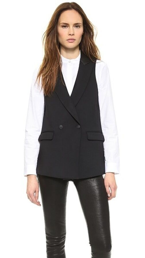 Rag & Bone Dant Leather-Trimmed Double-Breasted Vest XXS NWT