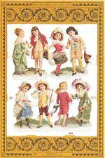 Chromo Le Suh Découpis Enfants Victoriens A24 Embossed Illustrations Children