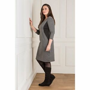 M 12-14 NEW Nicole Ponte Illusion Dress Grey Mocha S 8-10