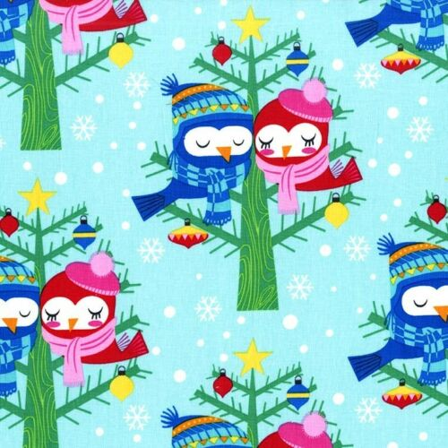 By 1//2 Yard Michael Miller Fabric ~ Christmas Lovebirds in Winter ~ birds aqua