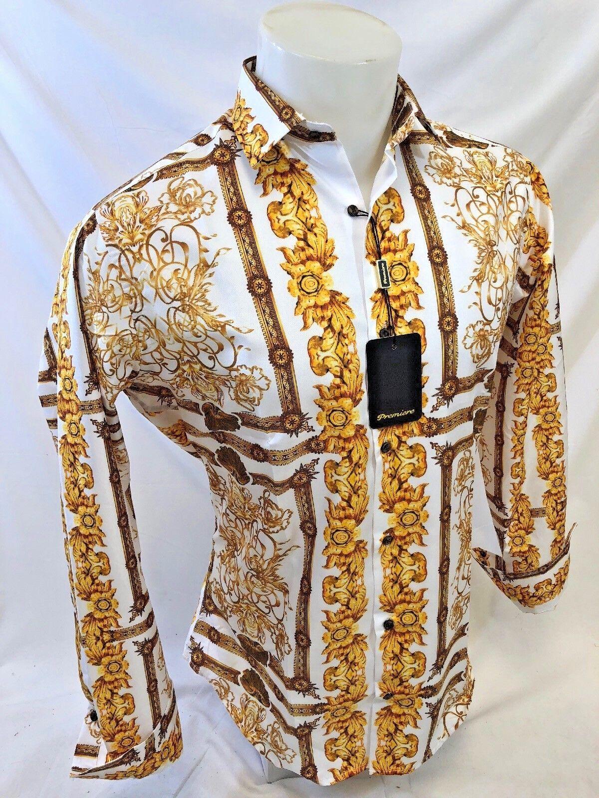 Herren Premiere Langärmlig Knöpfe Anzugshemd Weiß BlattGold BlattGold BlattGold Abstrakt 209 | Elegant und feierlich  | Angenehmes Aussehen  64bf5b