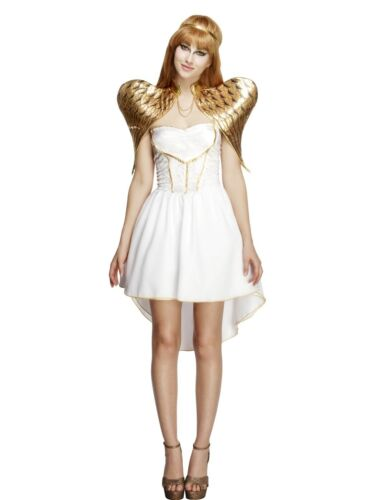 Guardian Angel Costume /& Wings Womens Christmas Xmas Fairy Fancy Dress Outfit
